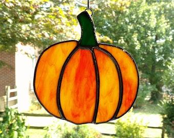 Stained Glass Pumpkin Suncatcher, Fall Suncatcher, Fall Decor, Autumn Decor, Thanksgiving Decor, Orange Glass, Halloween Decor