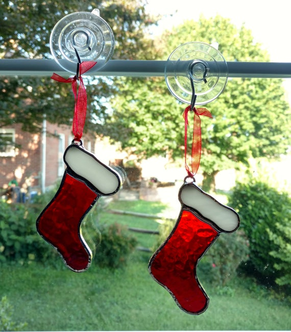 Stained Glass Christmas Stocking Ornaments, Set of Two, Christmas  Suncatcher, Christmas Tree Ornament, Holiday Decoration, Christmas Gift
