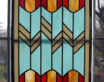 Tulip Geometric Stained Glass Window Panel