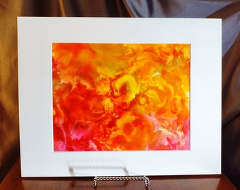 Alcohol Ink Painting, 8 x 10 Matted to 11 x 14, Orange and Gold Abstract Art, Matted Abstract Painting, Fall Painting, Fluid Art, Original