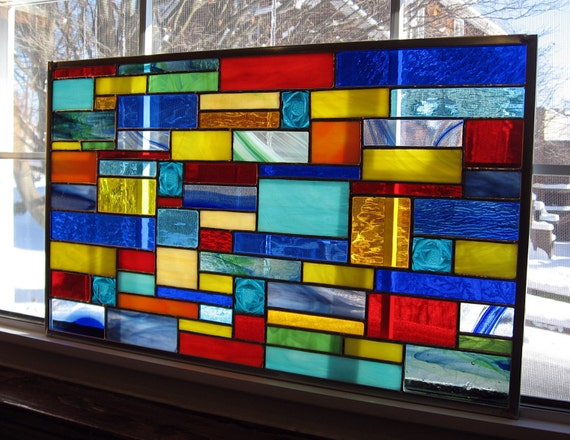 contemporary window art Geometric stained glass abstract suncatcher panel