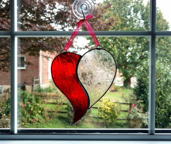 Red and black crystals and ceramic heart suncatcher.