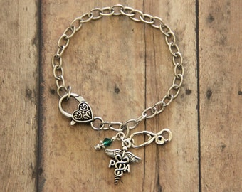 Physicians Assistant PA and Stethoscope Antique Silver Charm Bracelet