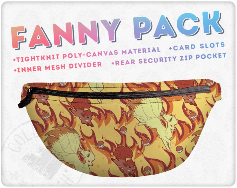Vulpix and Ninetales Inspired Pattern Fanny Pack