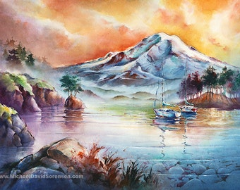 First Light at Mt. Rainier- Watercolor Art Print. Puget Sound. Sailboat Painting. Orange. Blue. Sunrise. Mountain. Pacific Northwest Print