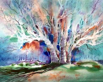 Early Spring Majesty - Watercolor Painting Print by Michael David Sorensen. Watercolor Tree. Negative Painting. Cyan. Green. Orange. Blue.
