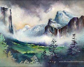 Yosemite Valley - Watercolor Painting Print. Yosemite National Park Artwork. Bridal Veil Falls. Green. Purple. Watercolor Trees. El Capitan.