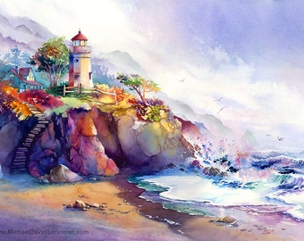 Coastal Colors- Lighthouse Watercolor Painting Print. Colorful Watercolor. Crashing Waves. Magenta. Ultramarine Blue. Beach Art. Ocean.