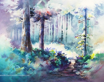 "Watercolor Tree Paintings. ""Pathway to NeahKahnie"" by Michael David Sorensen. Trees.  Negative Painting. Landscape Watercolors"