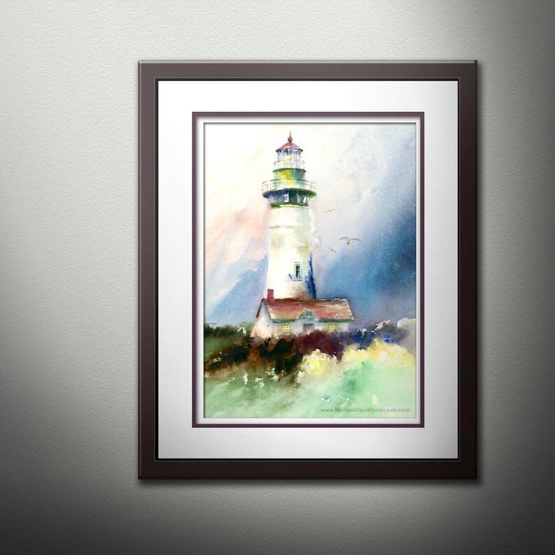 Pacific Northwest Art Oregon Coast Painting Oregon Lighthouse Newport Lighthouse Watercolor PRINT Yaquina Head Light Lighthouse Decor.