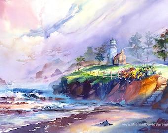 "Lighthouse Painting Print. ""Pacific Mist"" by Michael David Sorensen. Pacific Coast Ocean Watercolor Painting. Beach Art Prints. Coastal Art."