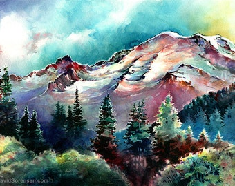 Mt. Rainier Through the Trees- Watercolor Print. Mount Rainier Painting. Mountain. Washington State. Pacific Northwest Art. Northwest.