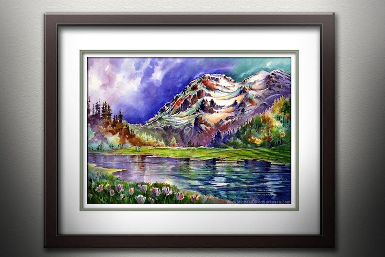 Mt. Rainier From Aurora Lake  Watercolor PRINT. Couple in image 0