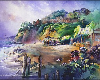 Paradise Cove Cafe Watercolor Art Print. Malibu Beachside Cafe. Watercolor People. Beach. Pelicans. Green. Purple. California Coast. Ocean.