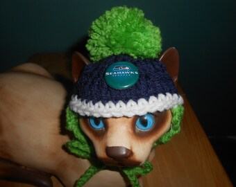 0c39b5a96f9 Crocheted Cat or Dog Hats Seattle Seahawks Football Sports Teams Pompom  X-Small and Small