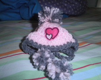 cbf7ac72e5b Crocheted Valentine Cat or Dog Hats w PomPom Pink and Gray Cat Hat