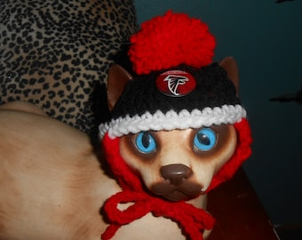 2ccb93749d8 Crocheted Cat or Dog Hats with Pompom Atlanta Falcons Football Sports Team