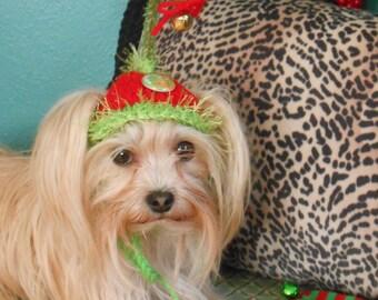 888e534407f Dog or Cat Hats Crocheted Christmas Elf Costume. Pet Santa Hat