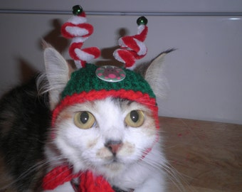 Christmas Dog or Cat Hats Jingle Bell Hats Crocheted Holiday Caps