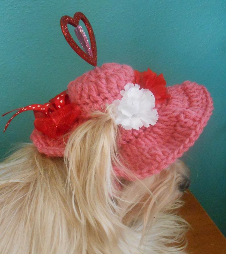 766b3b27fc3 Crocheted Valentine Pet Hat Pink Cat or Dog Hat Valentine   Etsy