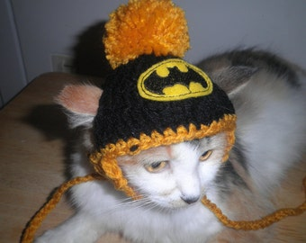 Superhero Cat or Dog Hat Crocheted  with Pompom for Halloween Costume