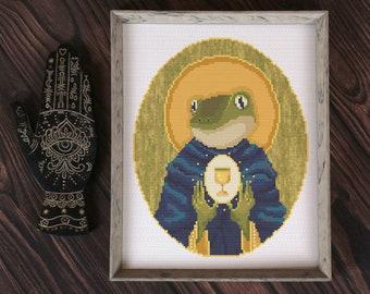 Saint Froggo - tarot religious frog cross stitch pattern