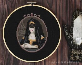 Mourning Veil - witchy skull halloween cross stitch pattern PDF