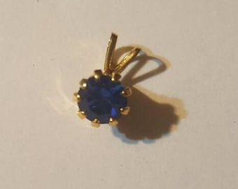Dark Blue Single Stone Pendant, Vintage Jewelry, FREE Shipping