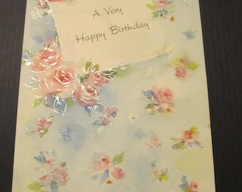 A Very Happy Birthday Rose Floral Greeting Card FREE SHIPPING