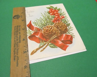 Pine Cone with Ribbon, Christmas Cheer, Christmas Greeting Card, FREE SHIPPING