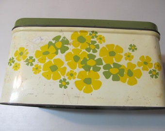 Retro Metal Tin, Bread box, Organization, Retro Flowers, 1950's Metal Box, Free Shipping