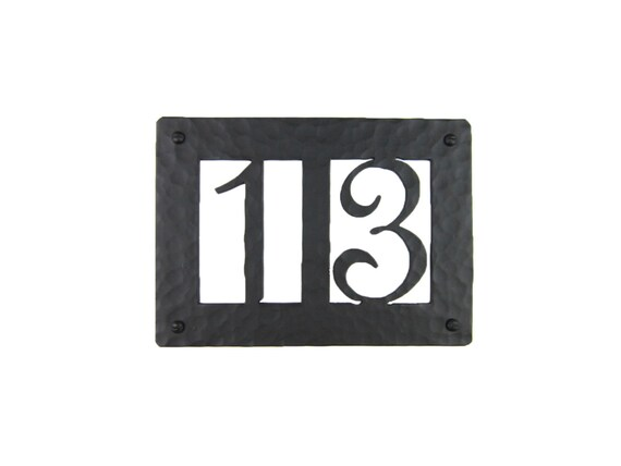 Rustic Custom Hammered Wrought Iron Address Plaque Horizontal APH22  (2number)