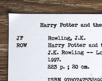 Library catalog card : Harry Potter and the Philosopher's Stone by J.K. Rowling