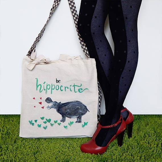 presa all'ingrosso bella vista miglior servizio Shopper bag in cotone biologico con tracolla Cravatta - Borsa Handmade  dipinta a mano - Hippo