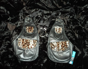 leopard print and black leather holster