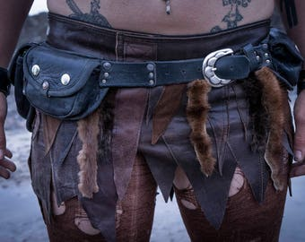 brown leather and fur skirt