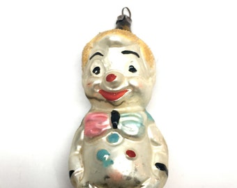 Antique Christmas Ornament,Pinocchio,Clown, Jester, Joker, Bozo, Blown Glass, Mercury Glass,Germany,Unique, Rare, c1920