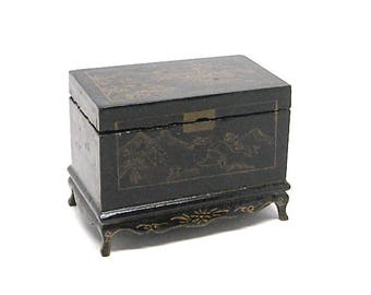 Dollhouse Asian Chest, Furniture, Black Lacquer, Painted, Trunk, Coffee  Table, Chinese, 1980