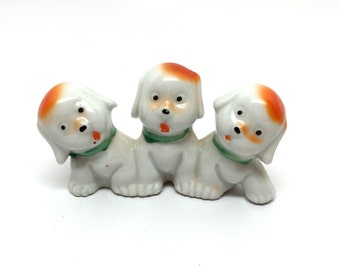 Vintage Googly Eyed Lucky Dogs Figurine Japan c1940