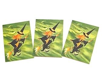 Halloween Bridge Tally, Witch, Antique, Ephemera, Vintage, Holiday, Card, Spooky, Decoration, Retro, c1950
