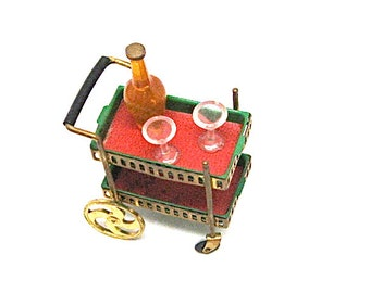 Doll House Miniature Tea Cart, Petite Princess, Ideal Toy Co., 1:12 Scale, Drink Cart, Bar, Bottle and Glasses, Retro, 1964