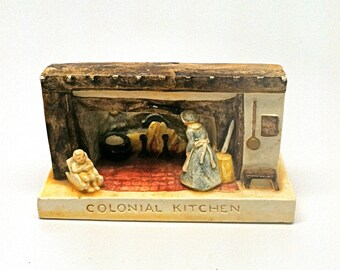 Vintage P.W.Baston 1952 Sabatian Miniature Colonial Kitchen
