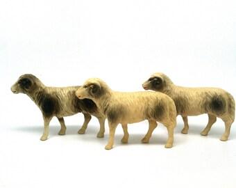 Celluloid Mountain Goats, Sheep, Animals, Farm, Putz, USA, 1930, Set of Three
