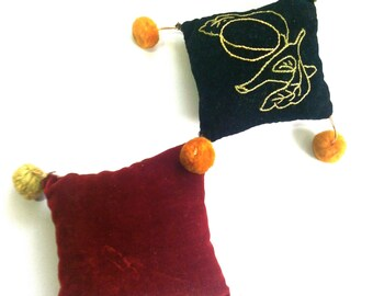 Vintage Victorian Pin Cushion, Sewing Notion, Handmade, Embroidery, Hanging c1910