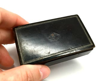 Snuff Box, Paper Mache, Black Lacquer, Sterling Inlay, Tobacco, Antique, Rectangular, Lidded, c1880, England, Downton Abby Style