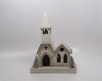 Snow Village Church, Vintage Mica Snow Village, House, Putz, Japan, Large, c1920