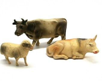 Vintage Celluloid Toy Animals, Cows, Sheep, Farm Animals, Viscoloid, Japan, USA, 1930