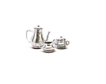 Dollhouse Tea Set, Silver, Miniature, Kitchen, Serving, Tea Time, silver colored Plastic, 1:12 Scale, 1970