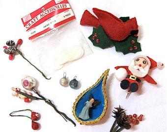 Lot Misc Vintage Christmas Craft Floral Pick Supplies