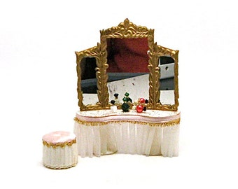 Doll House Miniature Vanity, Petite Princess, Ideal Toy Co., 1:12 Scale, Satin, Lace, Pink, Perfume Bottles, Stool, Retro, 1964